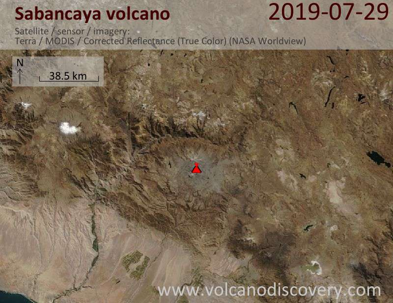 Satellite image of Sabancaya volcano on 29 Jul 2019