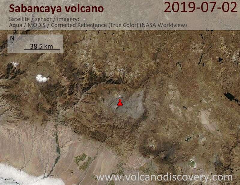 Satellite image of Sabancaya volcano on  3 Jul 2019