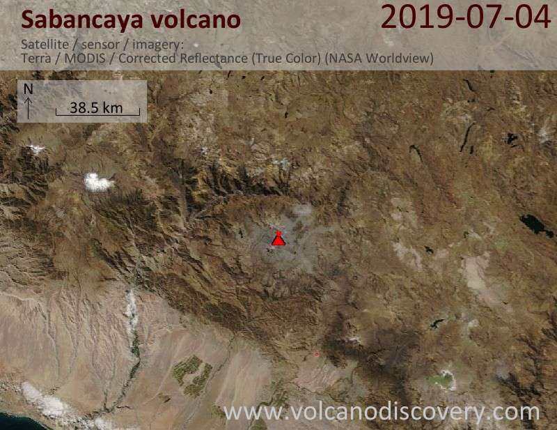 Satellite image of Sabancaya volcano on  4 Jul 2019