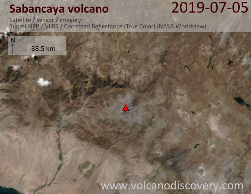 Satellite image of Sabancaya volcano on  5 Jul 2019