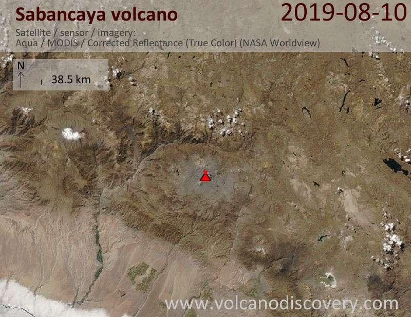 Satellitenbild des Sabancaya Vulkans am 10 Aug 2019