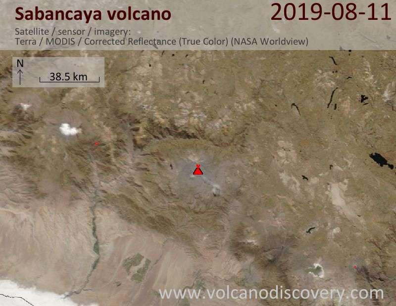 Satellite image of Sabancaya volcano on 11 Aug 2019