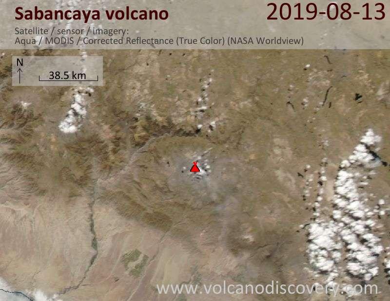 Satellite image of Sabancaya volcano on 14 Aug 2019