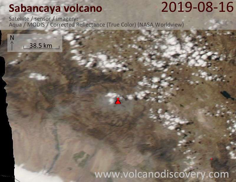 Satellite image of Sabancaya volcano on 17 Aug 2019
