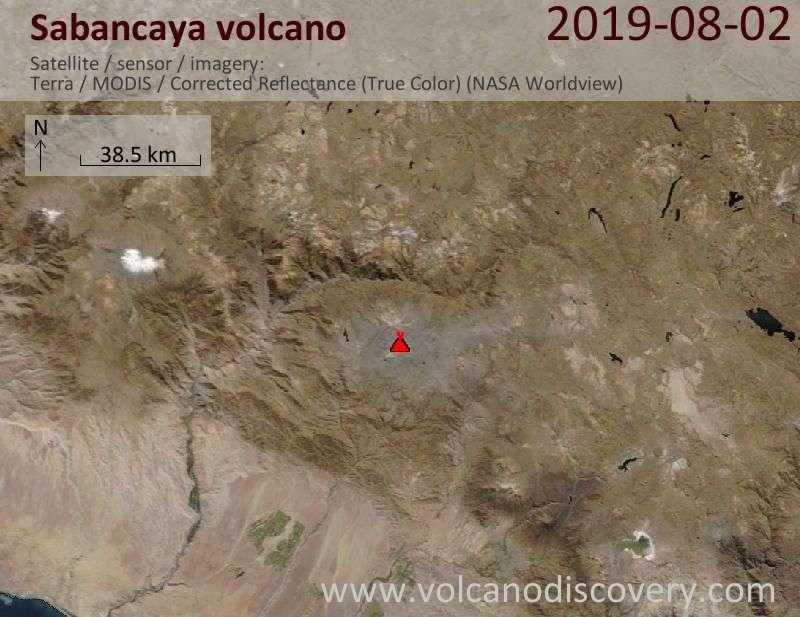 Satellite image of Sabancaya volcano on  2 Aug 2019