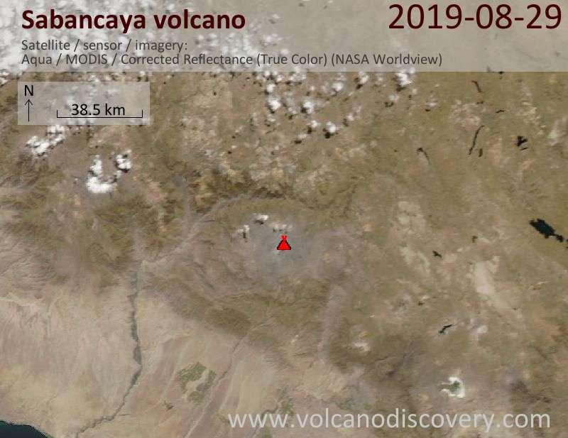 Спутниковое изображение вулкана Sabancaya 30 Aug 2019