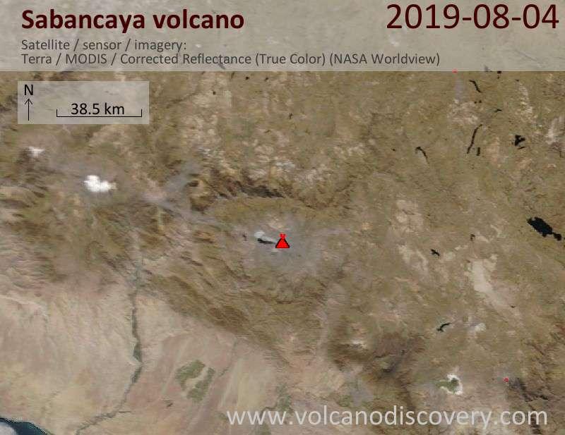 Satellite image of Sabancaya volcano on  4 Aug 2019