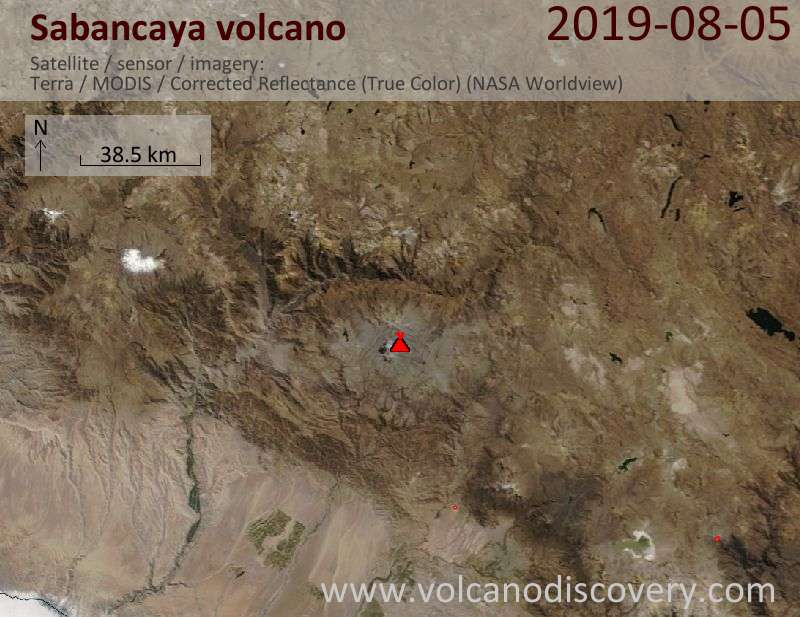 Satellite image of Sabancaya volcano on  5 Aug 2019