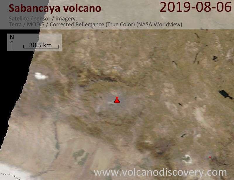Satellite image of Sabancaya volcano on  6 Aug 2019