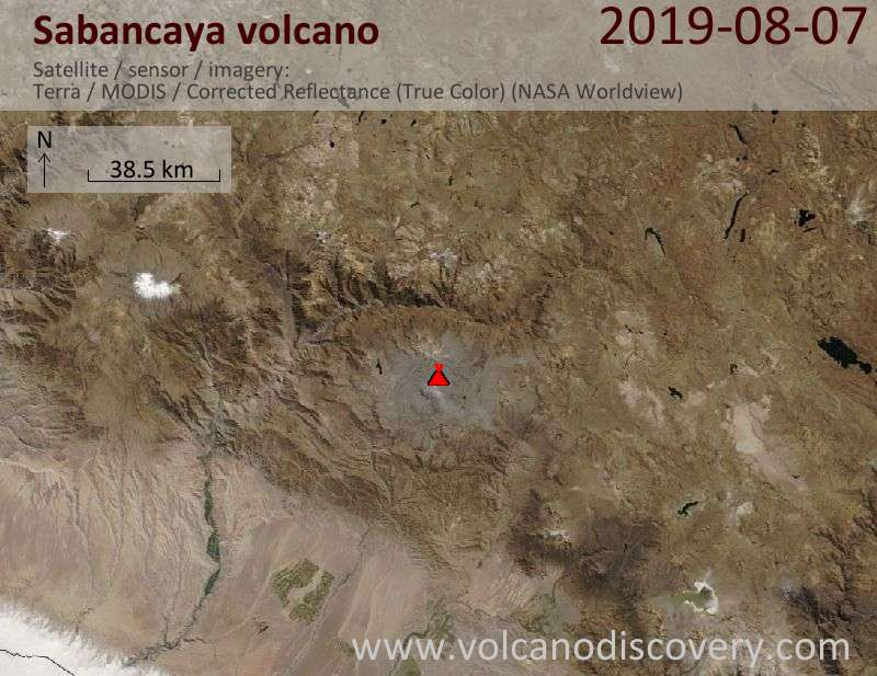 Satellite image of Sabancaya volcano on  7 Aug 2019