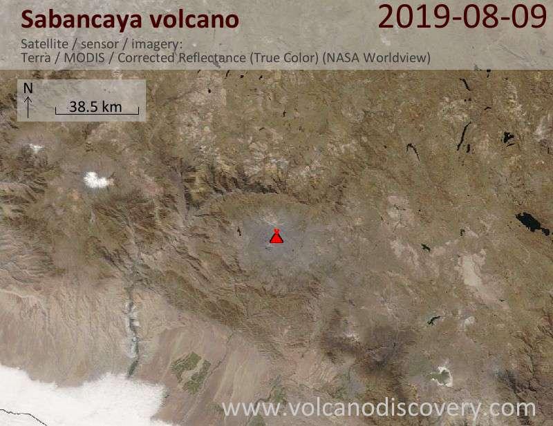 Спутниковое изображение вулкана Sabancaya  9 Aug 2019