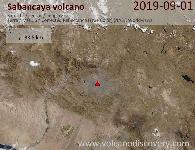 Satellite image of Sabancaya volcano on  1 Sep 2019