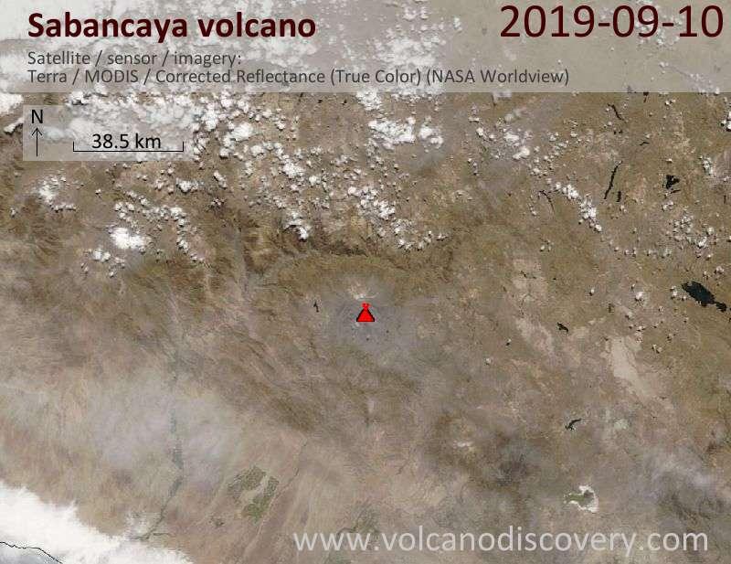 Satellitenbild des Sabancaya Vulkans am 10 Sep 2019
