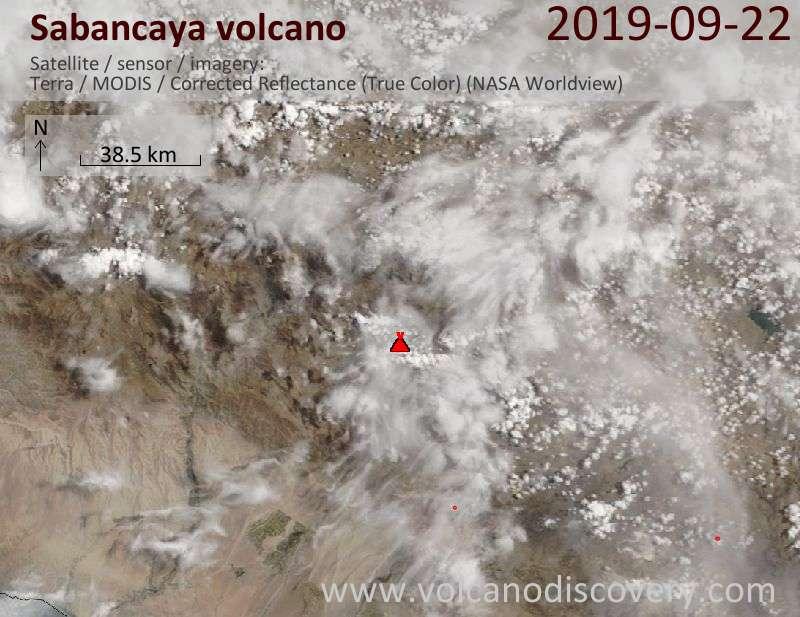 Satellitenbild des Sabancaya Vulkans am 22 Sep 2019