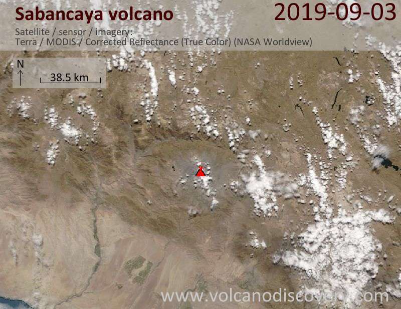 Satellitenbild des Sabancaya Vulkans am  3 Sep 2019