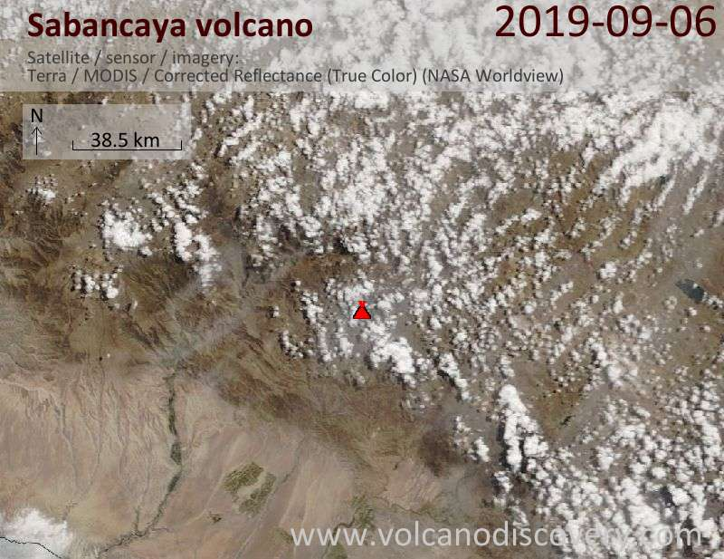 Satellitenbild des Sabancaya Vulkans am  6 Sep 2019