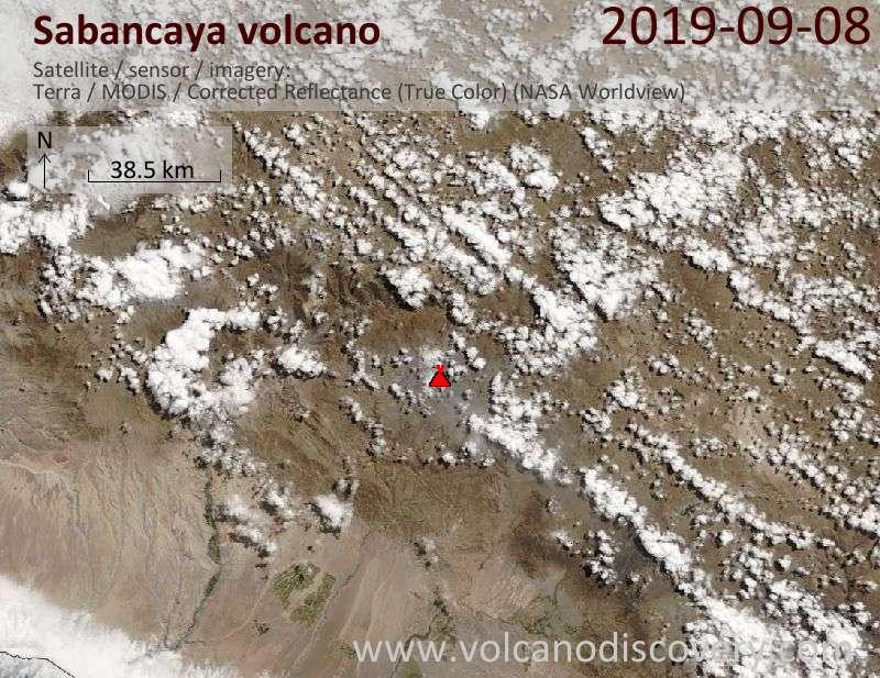 Спутниковое изображение вулкана Sabancaya  8 Sep 2019