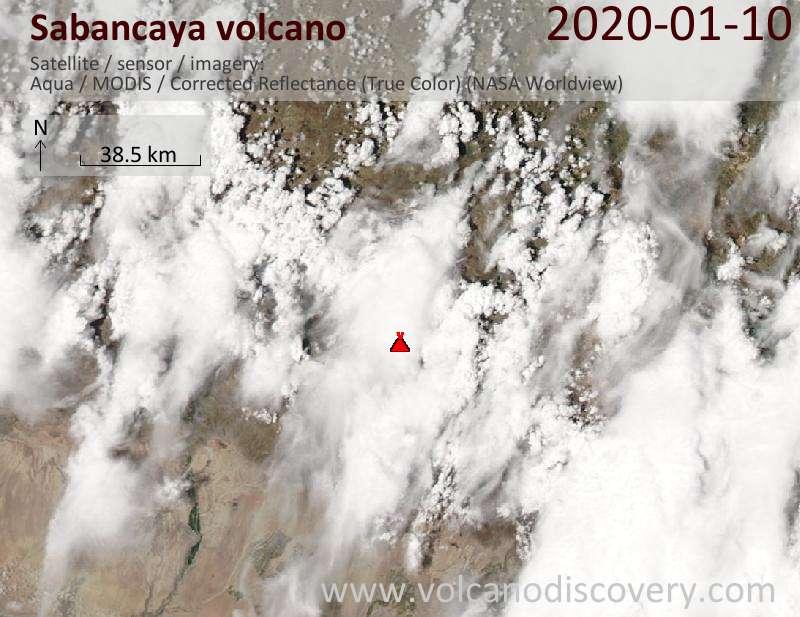 Satellitenbild des Sabancaya Vulkans am 11 Jan 2020