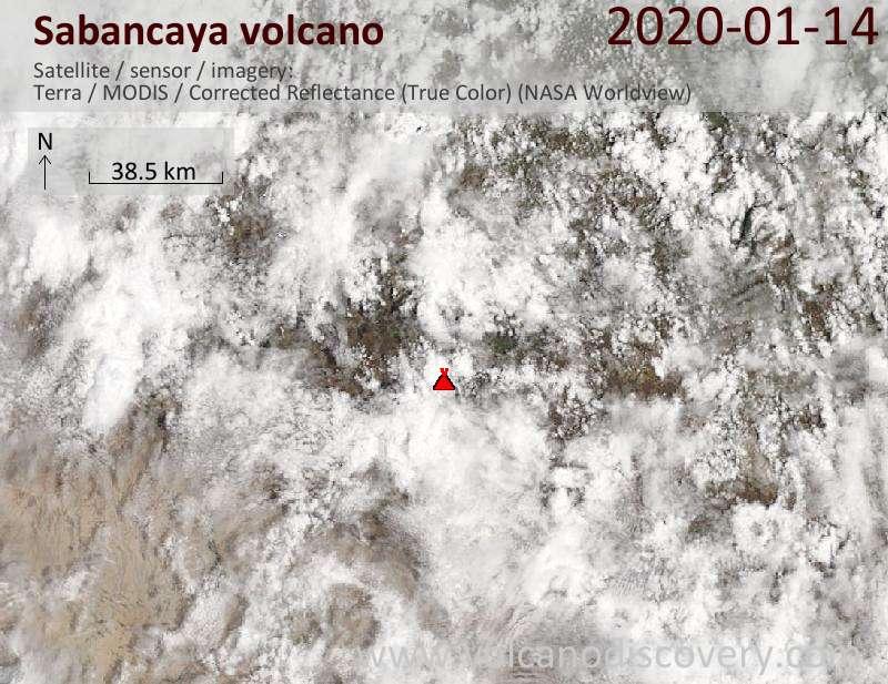 Satellite image of Sabancaya volcano on 14 Jan 2020