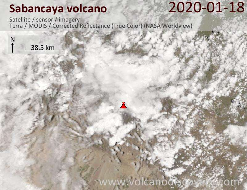 Satellite image of Sabancaya volcano on 18 Jan 2020