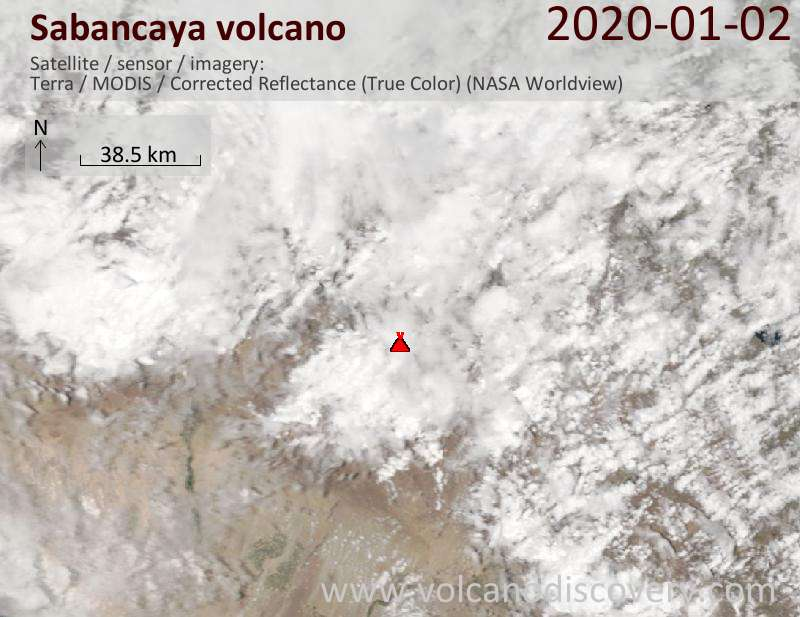 Satellitenbild des Sabancaya Vulkans am  2 Jan 2020
