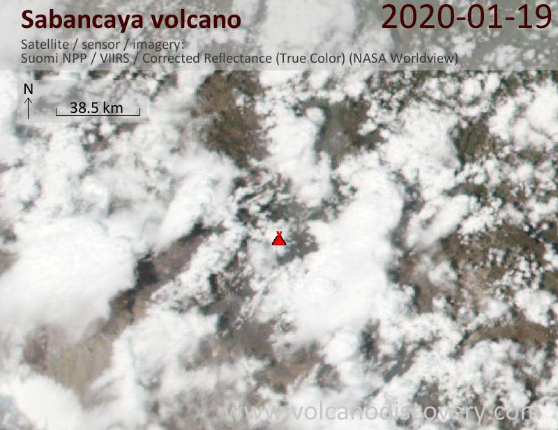 Satellitenbild des Sabancaya Vulkans am 20 Jan 2020