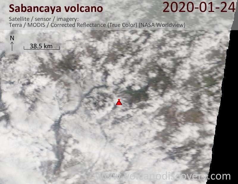 Satellitenbild des Sabancaya Vulkans am 24 Jan 2020