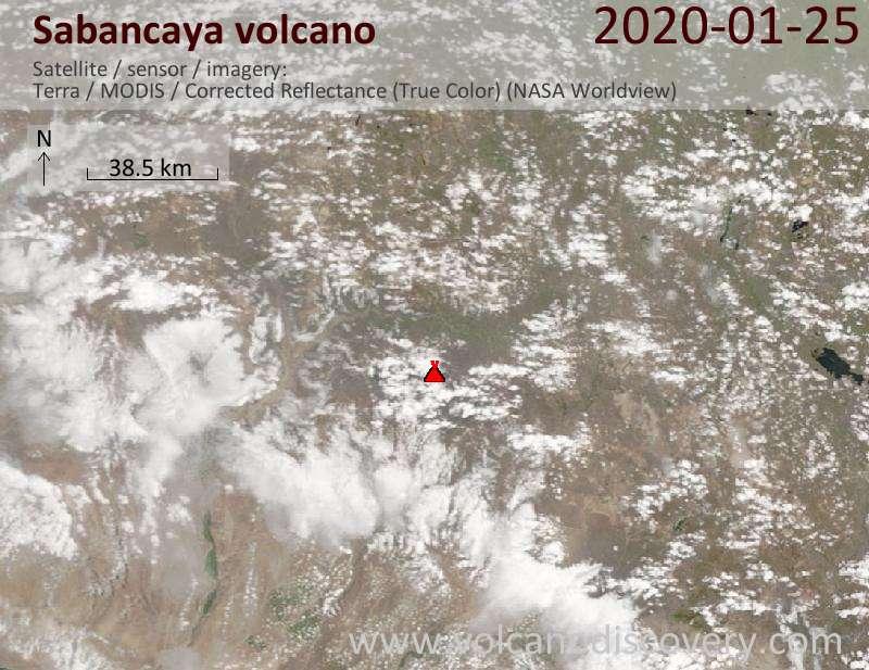 Satellitenbild des Sabancaya Vulkans am 25 Jan 2020