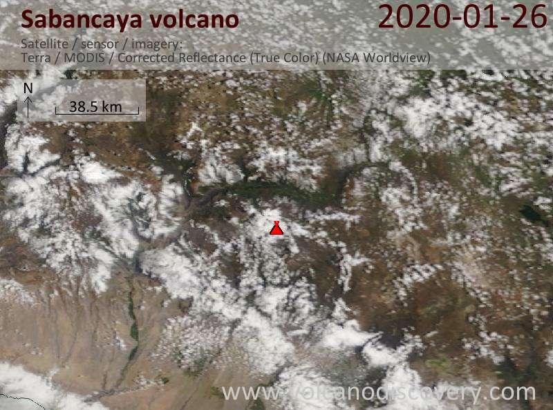 Satellite image of Sabancaya volcano on 26 Jan 2020