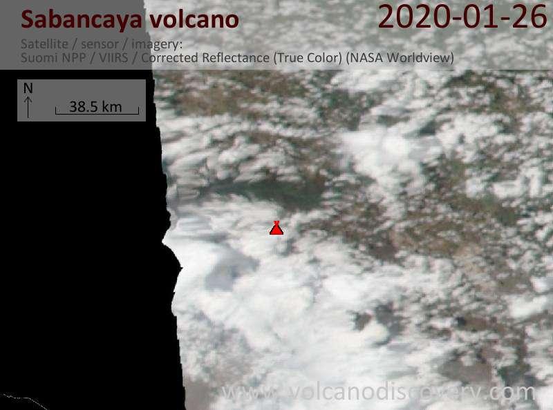 Satellite image of Sabancaya volcano on 27 Jan 2020