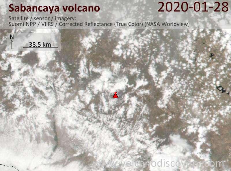 Satellite image of Sabancaya volcano on 29 Jan 2020