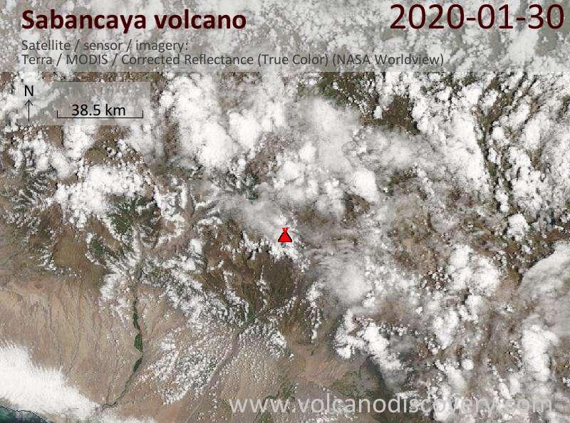 Satellite image of Sabancaya volcano on 30 Jan 2020