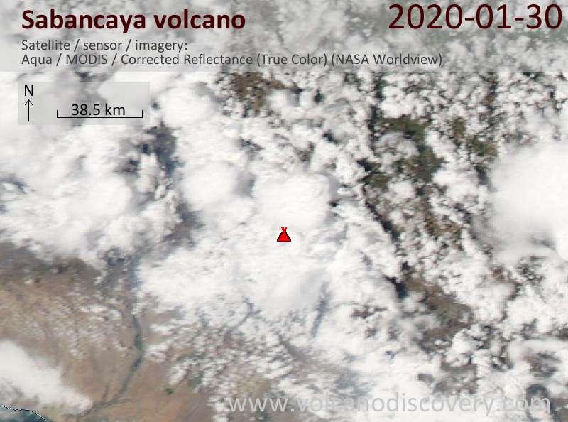 Satellite image of Sabancaya volcano on 31 Jan 2020