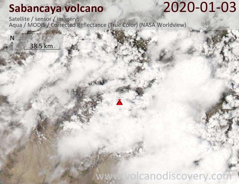 Satellite image of Sabancaya volcano on  4 Jan 2020