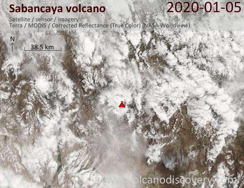 Satellitenbild des Sabancaya Vulkans am  5 Jan 2020