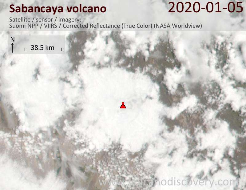 Satellite image of Sabancaya volcano on  6 Jan 2020