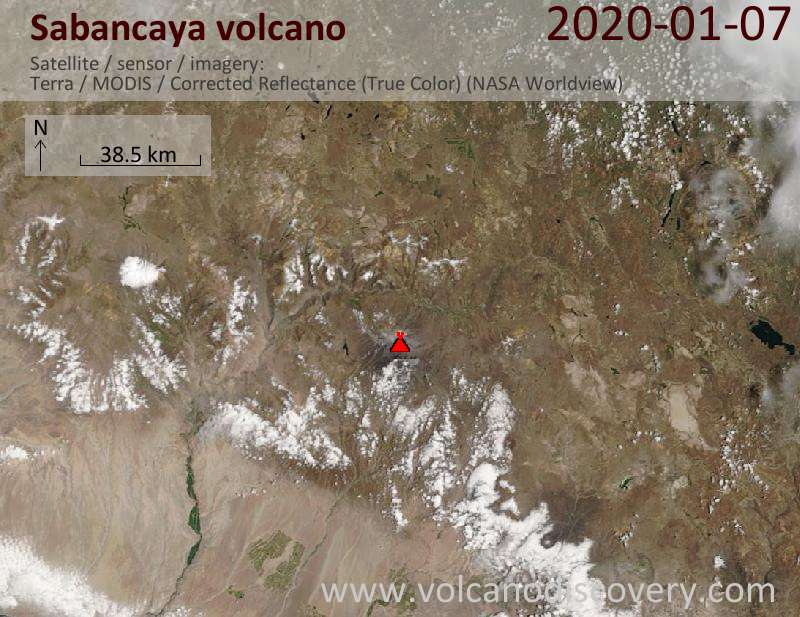 Satellitenbild des Sabancaya Vulkans am  7 Jan 2020