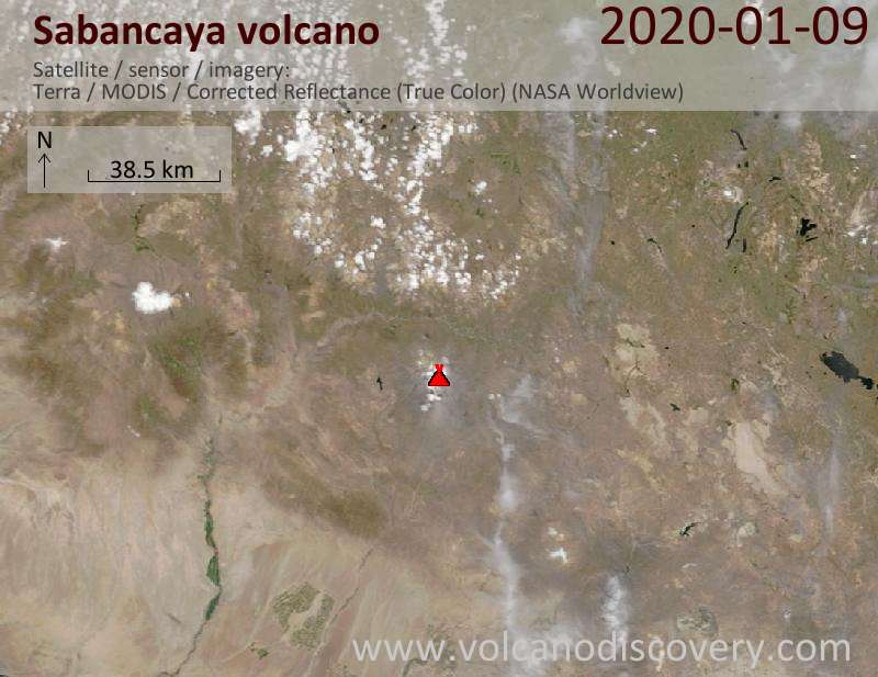 Satellite image of Sabancaya volcano on  9 Jan 2020