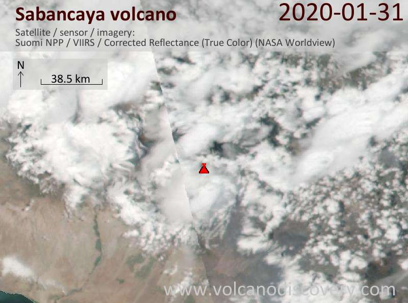 Satellite image of Sabancaya volcano on  1 Feb 2020