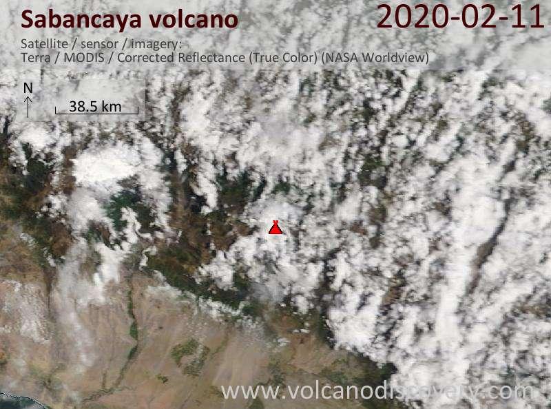 Спутниковое изображение вулкана Sabancaya 11 Feb 2020