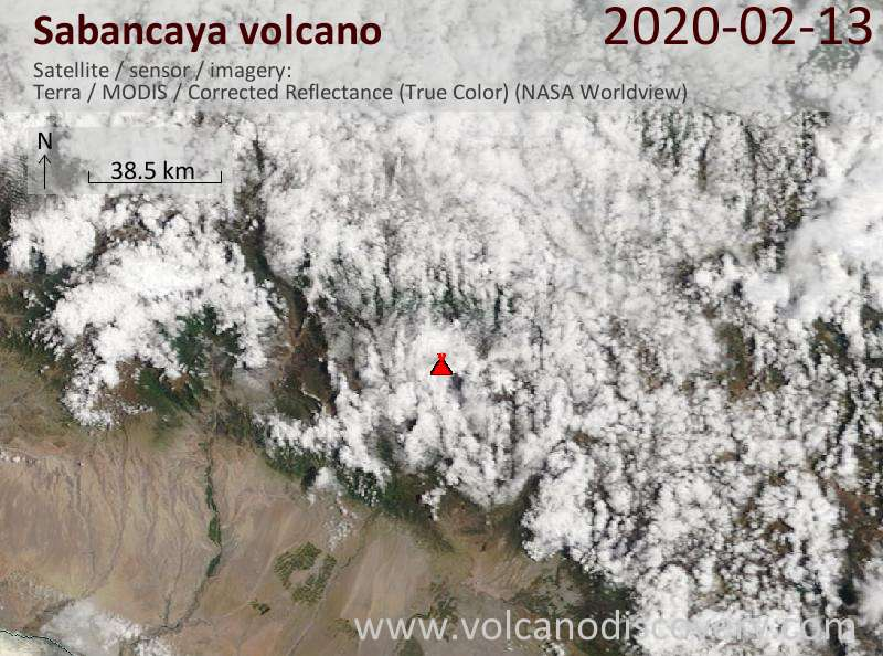 Satellitenbild des Sabancaya Vulkans am 13 Feb 2020