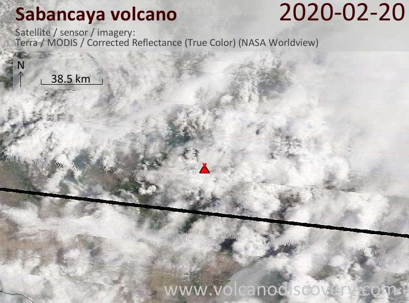 Satellite image of Sabancaya volcano on 20 Feb 2020