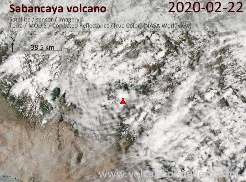 Satellite image of Sabancaya volcano on 22 Feb 2020