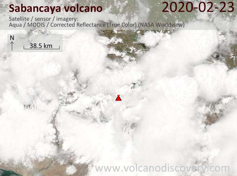 Satellite image of Sabancaya volcano on 23 Feb 2020