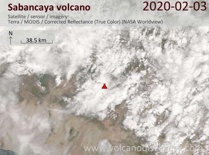 Satellite image of Sabancaya volcano on  3 Feb 2020