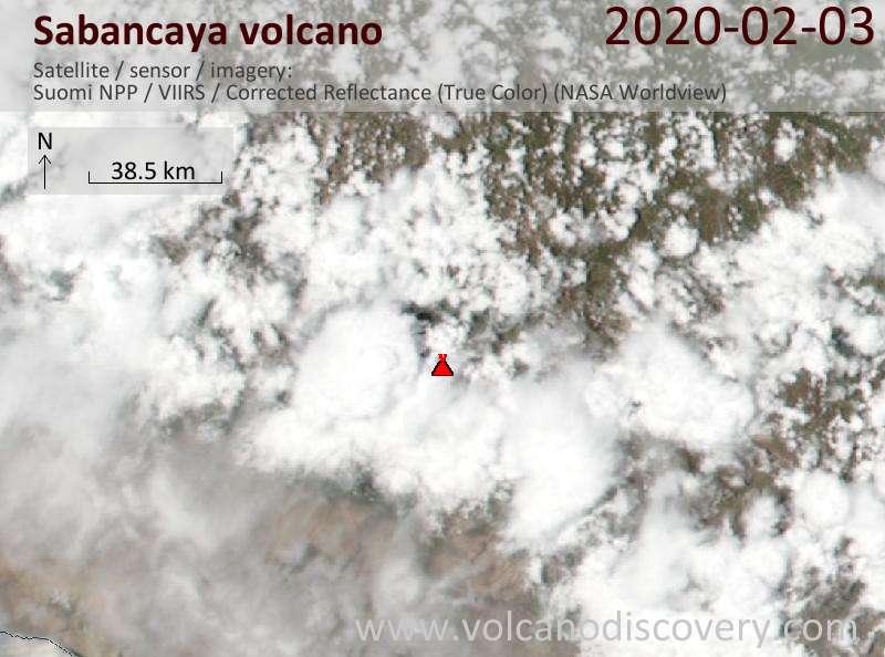 Satellite image of Sabancaya volcano on  4 Feb 2020