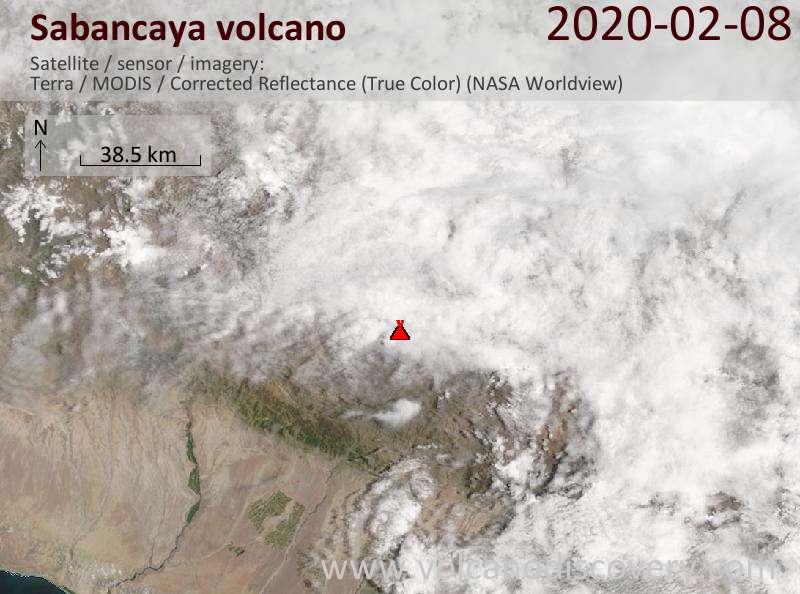 Satellite image of Sabancaya volcano on  8 Feb 2020