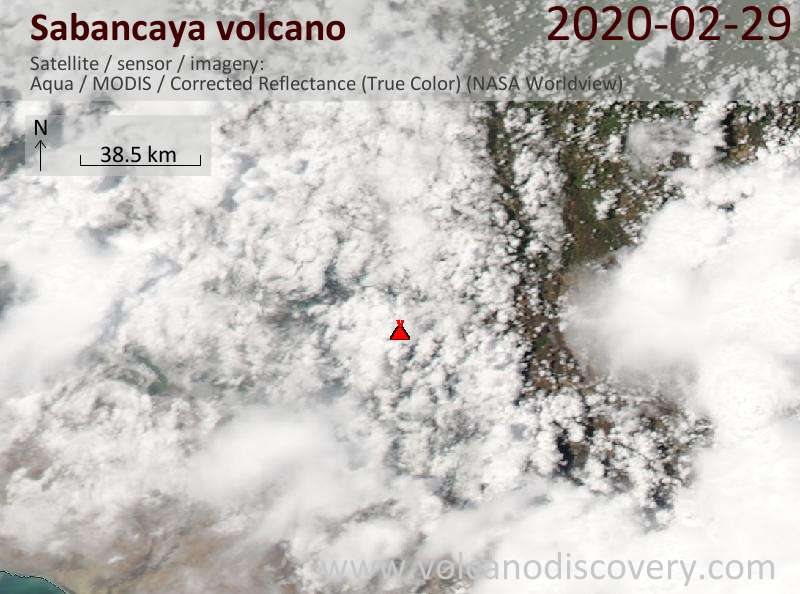 Satellite image of Sabancaya volcano on  1 Mar 2020