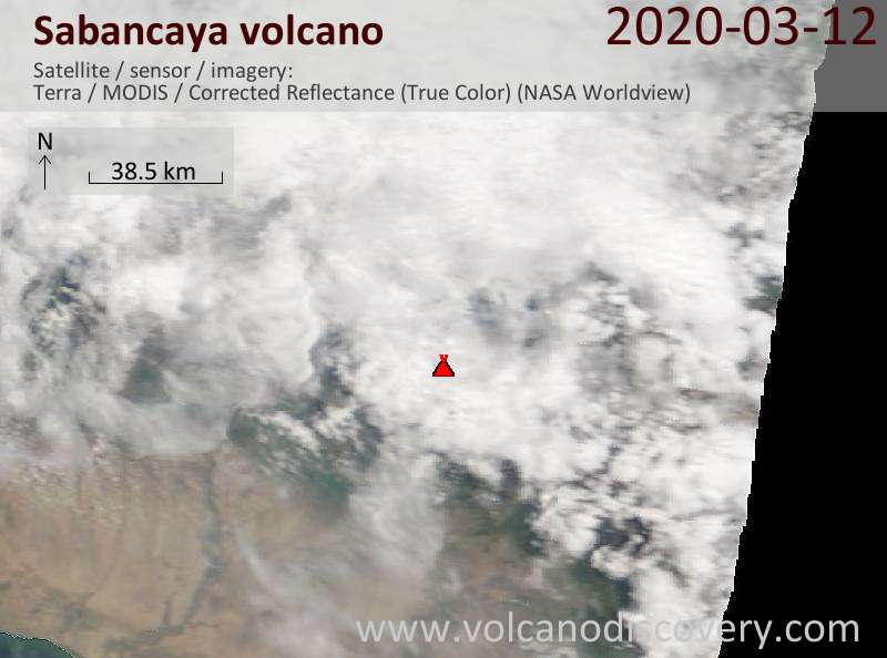 Satellite image of Sabancaya volcano on 12 Mar 2020
