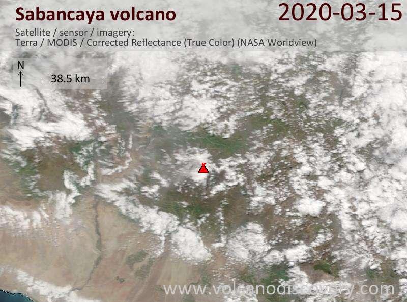 Satellite image of Sabancaya volcano on 15 Mar 2020